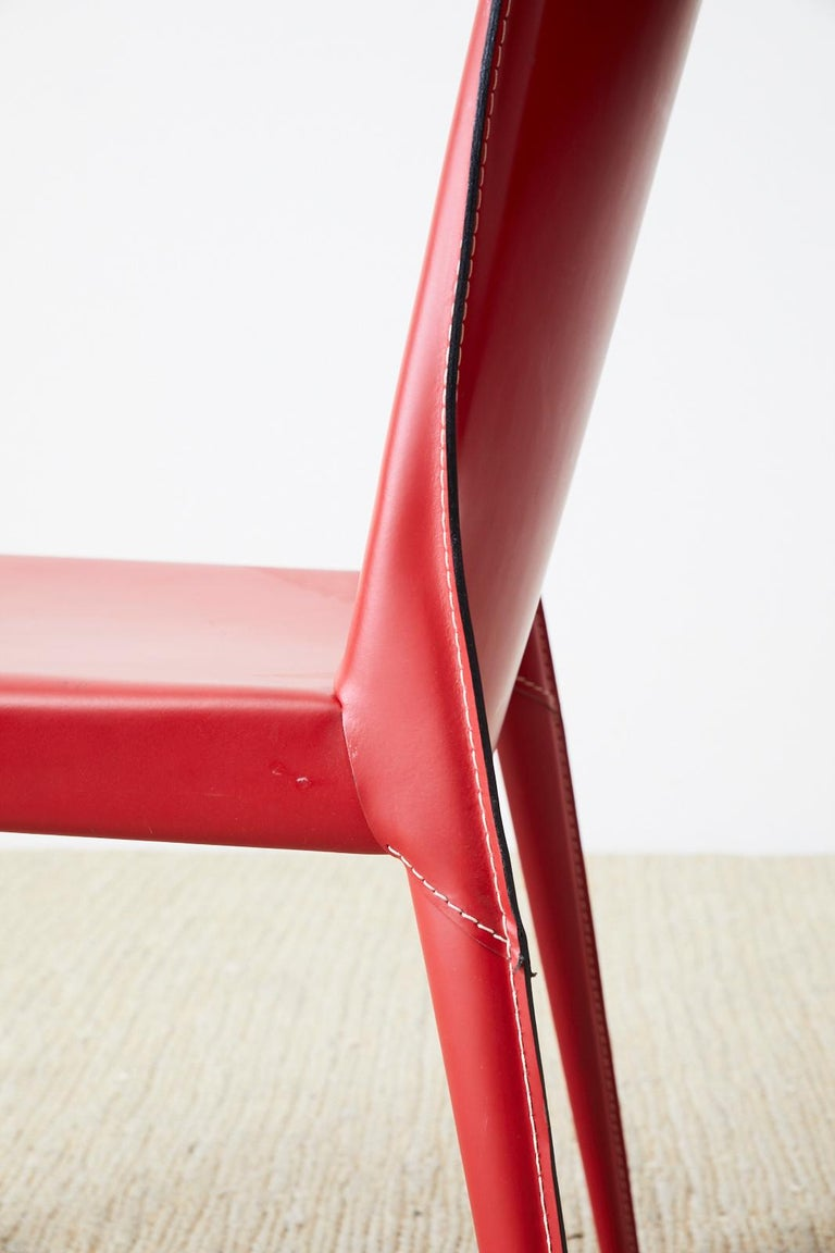 Set of Six Italian Red Leather Wrapped Dining Chairs 6