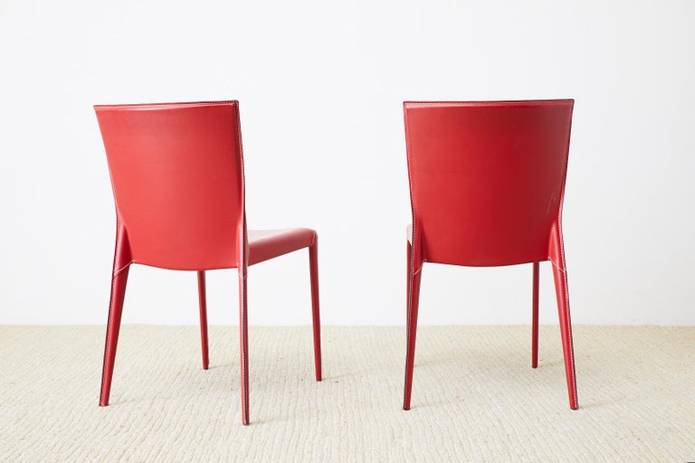 Set of Six Italian Red Leather Wrapped Dining Chairs 8