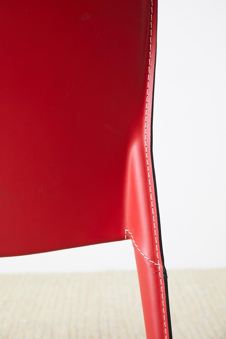 Set of Six Italian Red Leather Wrapped Dining Chairs 9