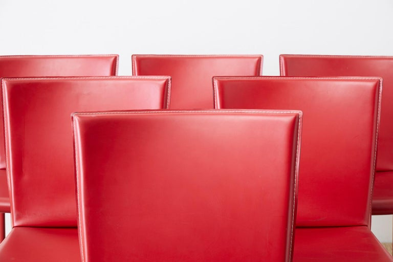 Modern Set of Six Italian Red Leather Wrapped Dining Chairs