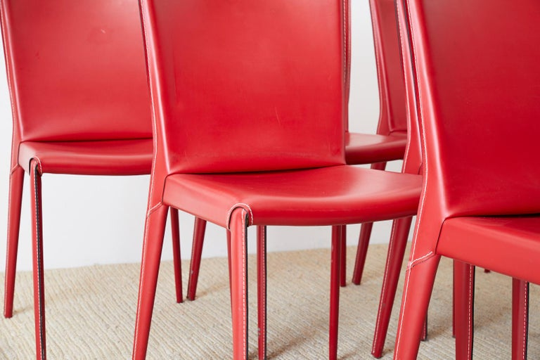 Hand-Crafted Set of Six Italian Red Leather Wrapped Dining Chairs