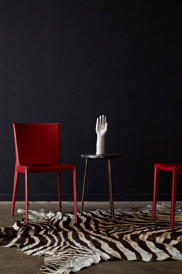 Set of Six Italian Red Leather Wrapped Dining Chairs In Good Condition In Oakland, CA
