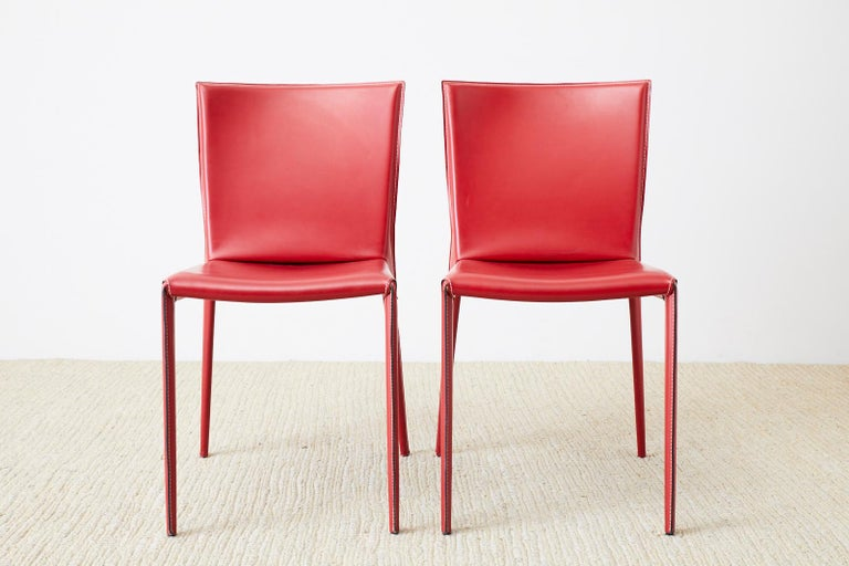 20th Century Set of Six Italian Red Leather Wrapped Dining Chairs