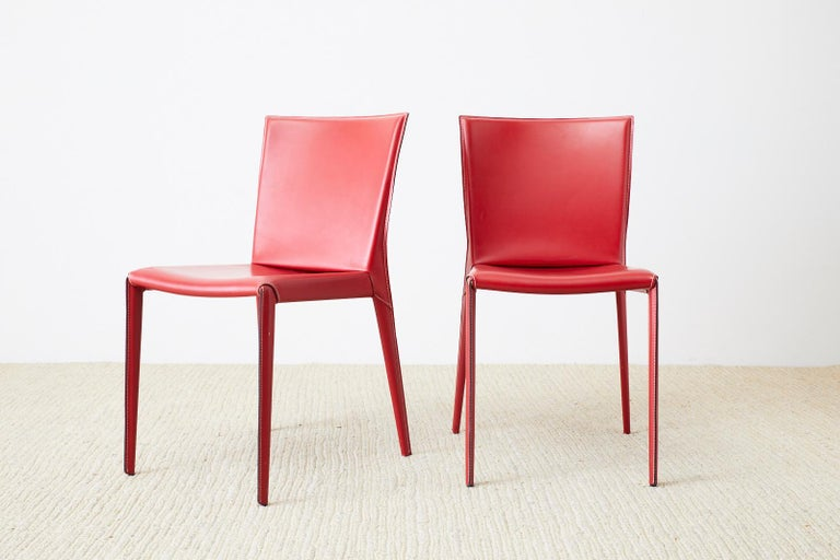 Metal Set of Six Italian Red Leather Wrapped Dining Chairs