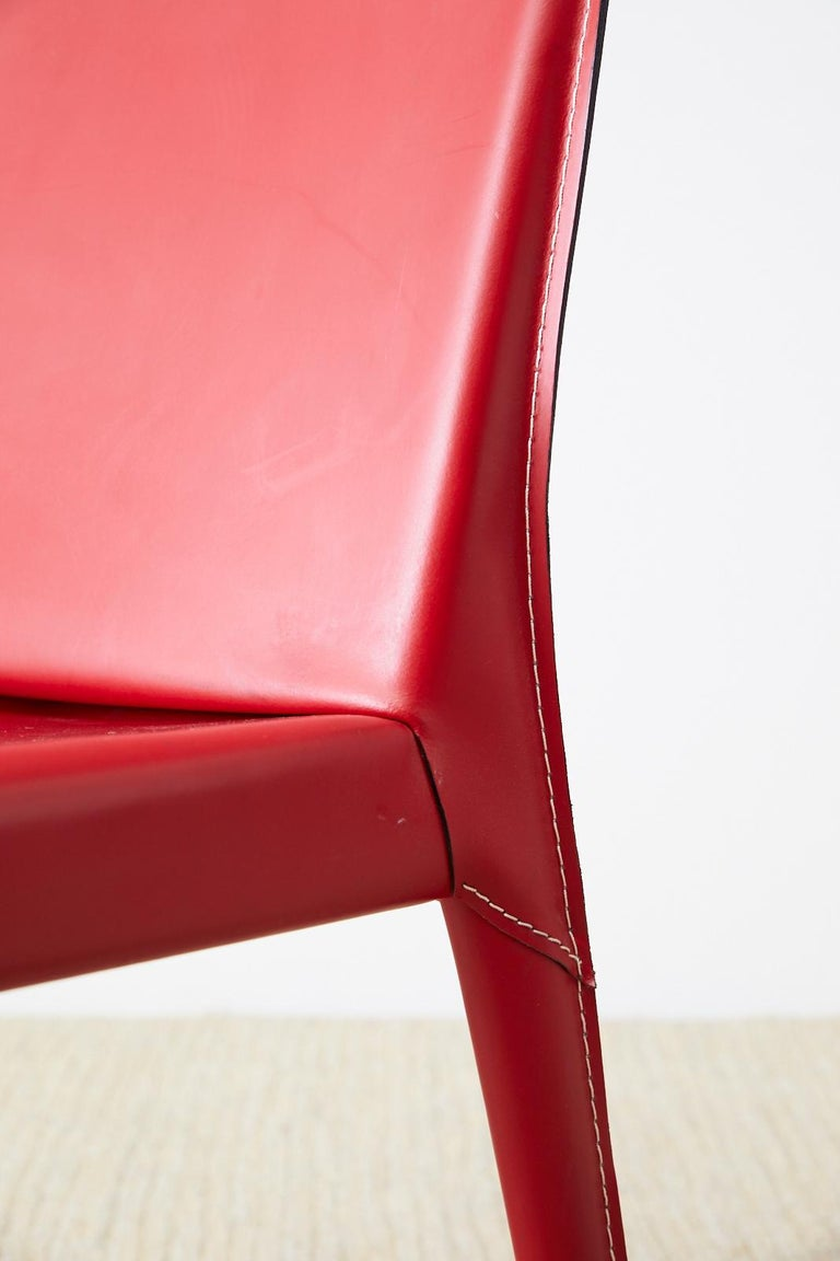 Set of Six Italian Red Leather Wrapped Dining Chairs 2