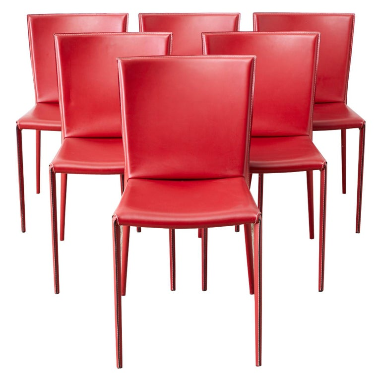 Set of Six Italian Red Leather Wrapped Dining Chairs