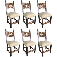Set of Six Italian Tuscan Walnut Chairs with Leafy Corbel Finials, 16th Century