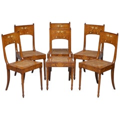 Set of Six Italian Walnut 19th Century Putti Cherub Angel Inlaid Dining Chairs 6