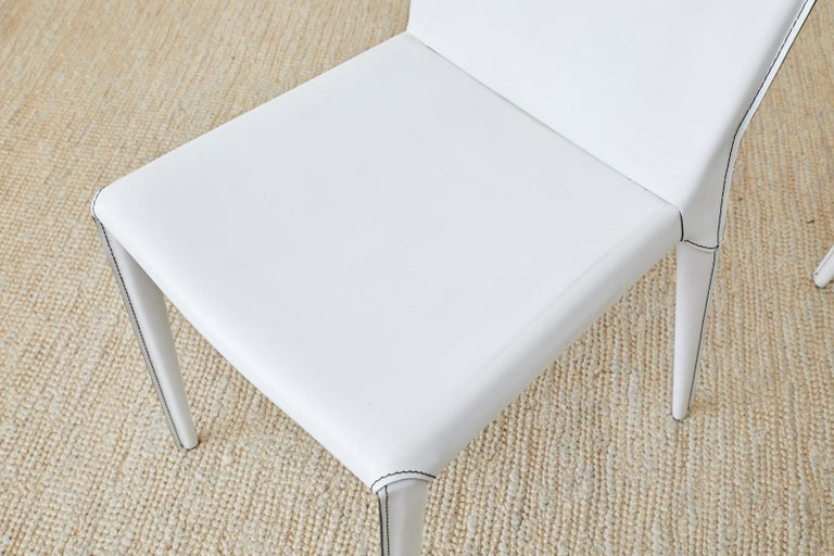 Set of Six Italian White Leather Wrapped Dining Chairs For Sale 3