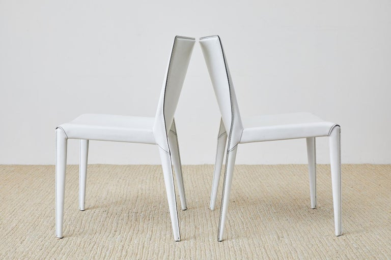 Set of Six Italian White Leather Wrapped Dining Chairs For Sale 4