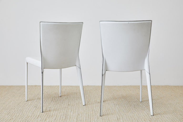 Set of Six Italian White Leather Wrapped Dining Chairs For Sale 7