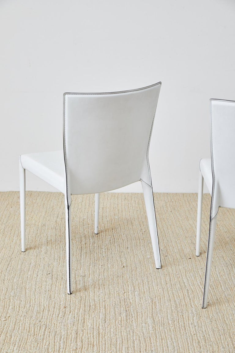 Set of Six Italian White Leather Wrapped Dining Chairs For Sale 9