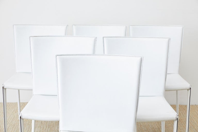 Modern Set of Six Italian White Leather Wrapped Dining Chairs For Sale