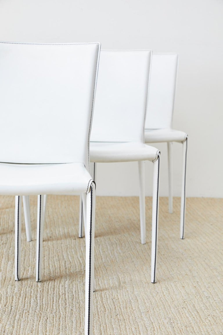 Hand-Crafted Set of Six Italian White Leather Wrapped Dining Chairs For Sale