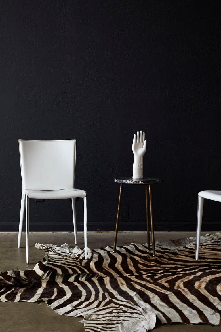 Set of Six Italian White Leather Wrapped Dining Chairs In Good Condition For Sale In Oakland, CA