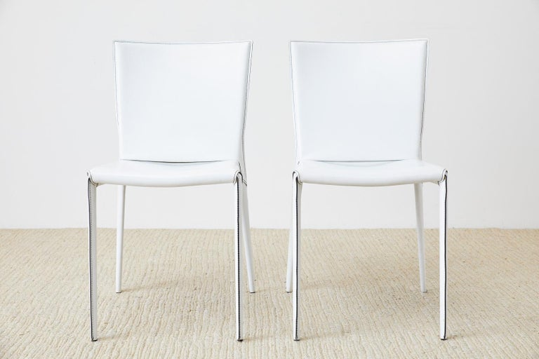 20th Century Set of Six Italian White Leather Wrapped Dining Chairs For Sale