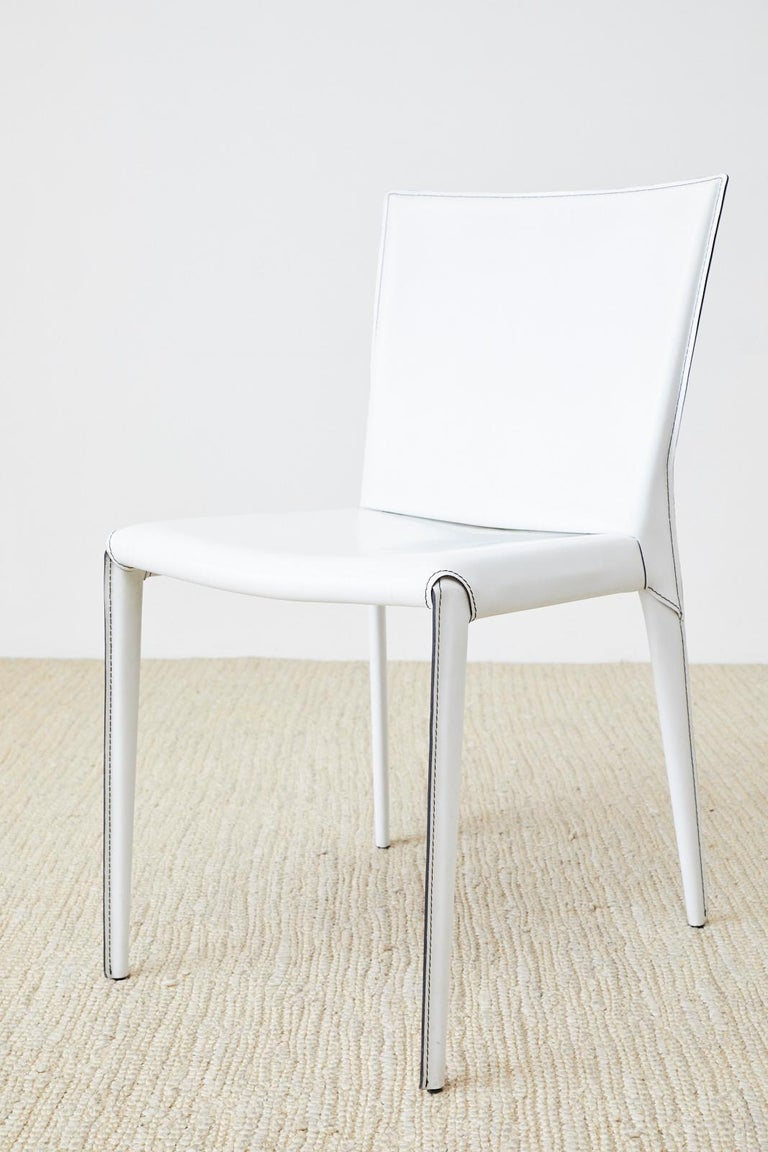 Set of Six Italian White Leather Wrapped Dining Chairs For Sale 2