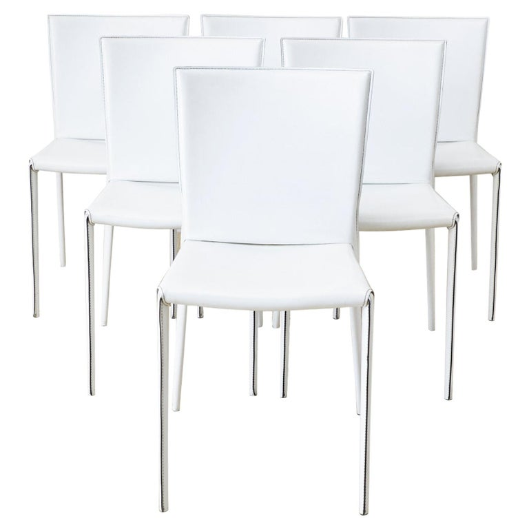 Set of Six Italian White Leather Wrapped Dining Chairs For Sale
