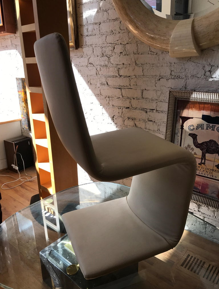 Late 20th Century Set of Six Italian Wrapped Leather Dining Chairs by Bonaldo For Sale