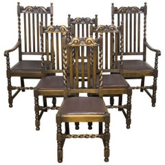 Set of Six Jacobean Influenced Oak Chairs