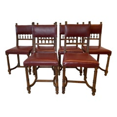 Set of Six Jacobean Style Dinning Chairs