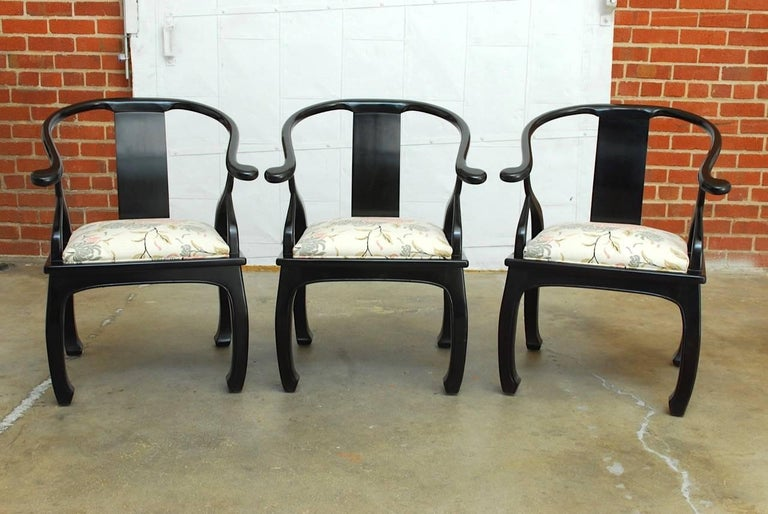 Set Of Six James Mont Style Horseshoe Chairs By Bernhardt