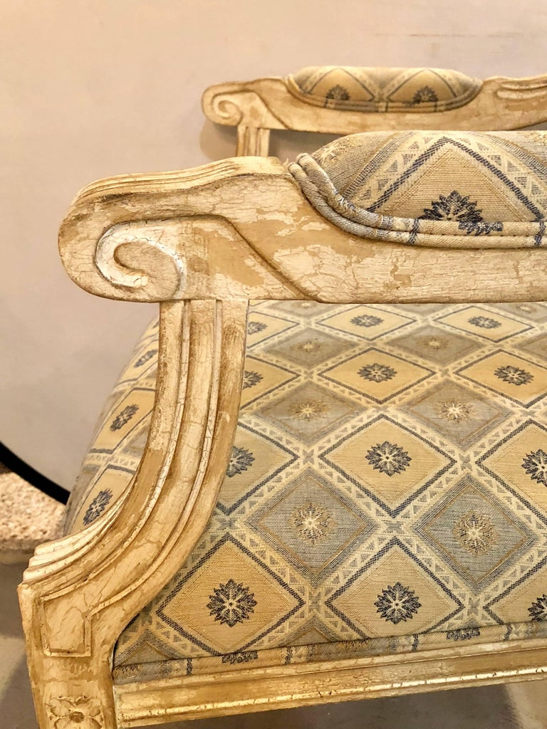 Set of Six Jansen Louis XVI Style Dining Chairs Parcel-Gilt and Paint Decorated For Sale 7