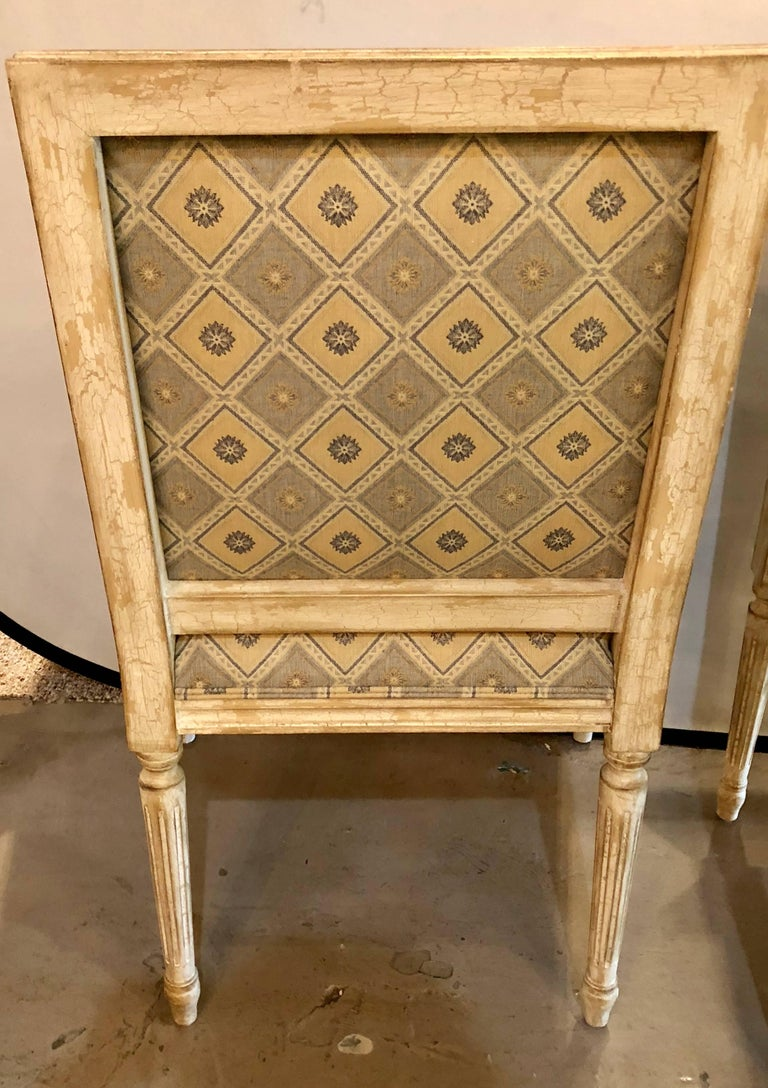 Set of Six Jansen Louis XVI Style Dining Chairs Parcel-Gilt and Paint Decorated For Sale 8