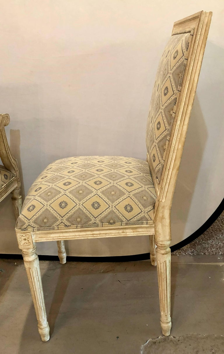 Set of Six Jansen Louis XVI Style Dining Chairs Parcel-Gilt and Paint Decorated For Sale 9