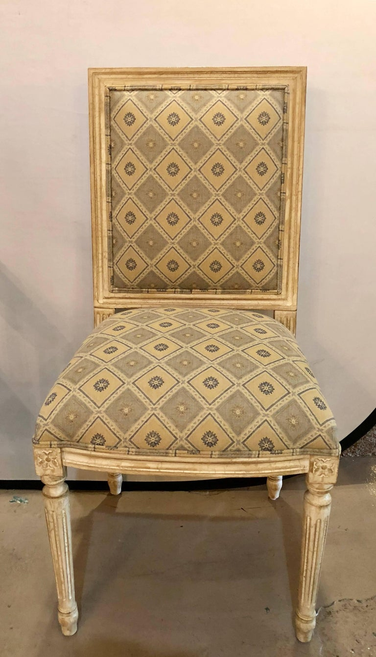 Set of Six Jansen Louis XVI Style Dining Chairs Parcel-Gilt and Paint Decorated In Good Condition For Sale In Stamford, CT