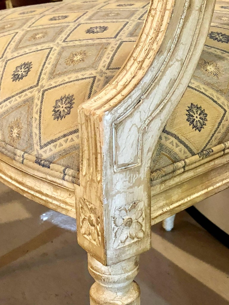 Set of Six Jansen Louis XVI Style Dining Chairs Parcel-Gilt and Paint Decorated For Sale 1