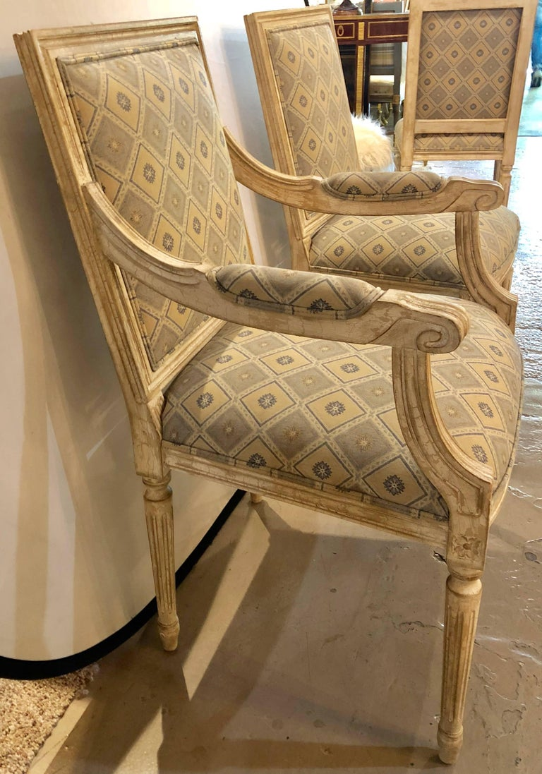Set of Six Jansen Louis XVI Style Dining Chairs Parcel-Gilt and Paint Decorated For Sale 3
