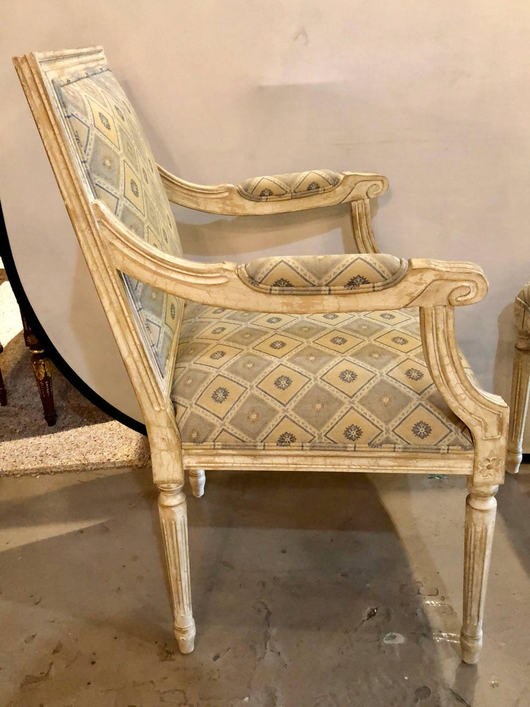 Set of Six Jansen Louis XVI Style Dining Chairs Parcel-Gilt and Paint Decorated For Sale 4