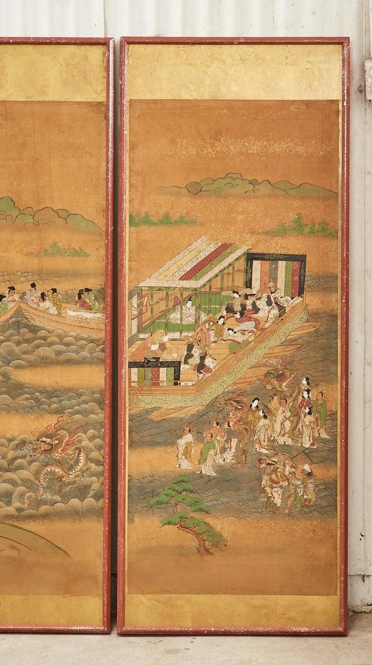 Set of Six Japanese Edo Panels Tale of Taishokkan For Sale 4