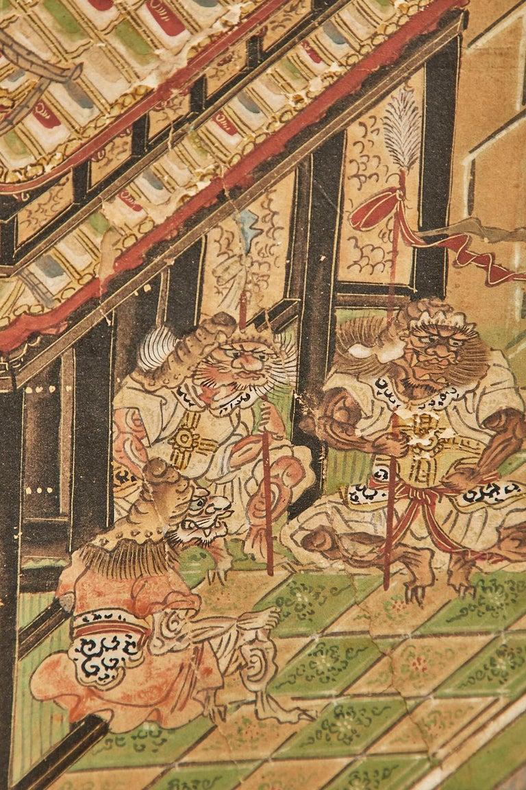 Set of Six Japanese Edo Panels Tale of Taishokkan For Sale 12