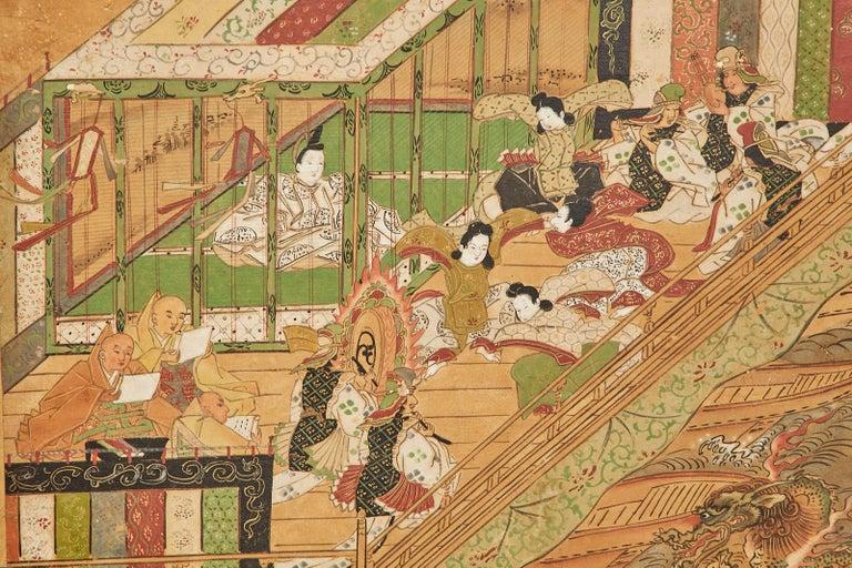 Set of Six Japanese Edo Panels Tale of Taishokkan For Sale 13