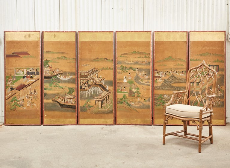 Extraordinary set of six Japanese Edo period panels featuring the tale of Taishokkan or the great woven cap. 17th-century tale with themes of duty, romance, and self-sacrifice. Each picture is professionally mounted in a later wood frame painted red