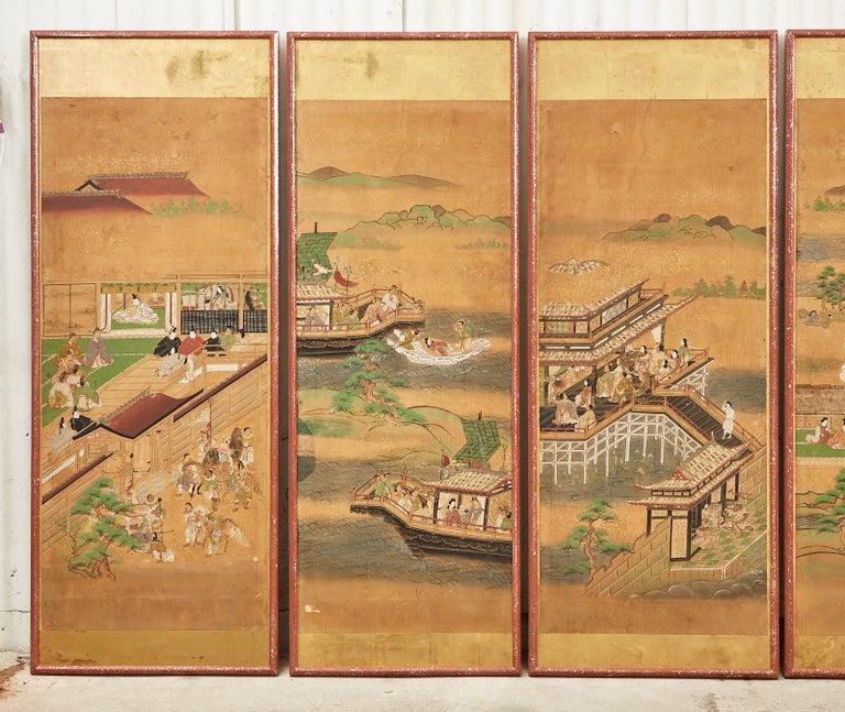Hand-Crafted Set of Six Japanese Edo Panels Tale of Taishokkan For Sale