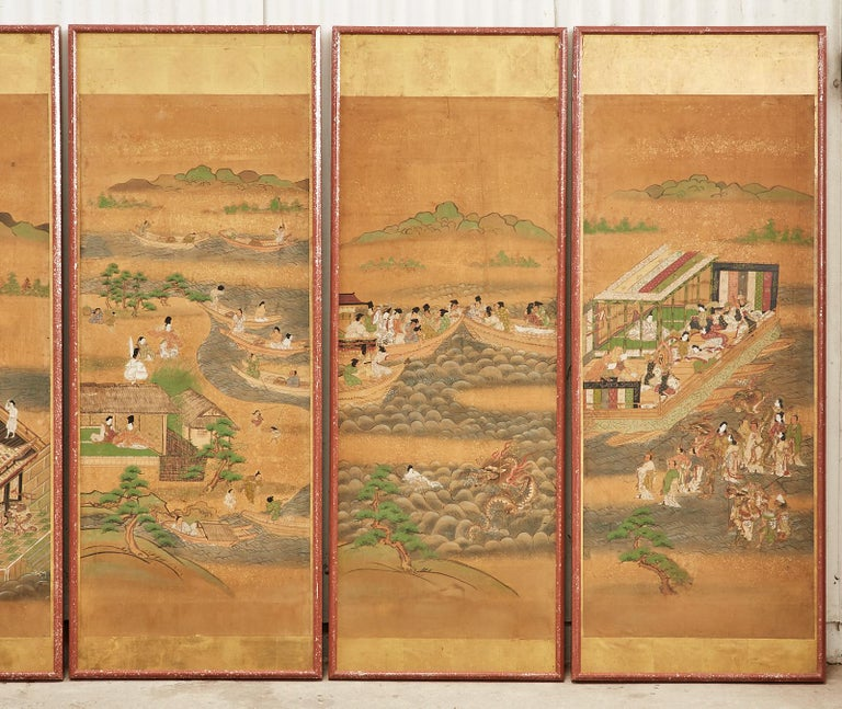 Set of Six Japanese Edo Panels Tale of Taishokkan In Fair Condition For Sale In Rio Vista, CA