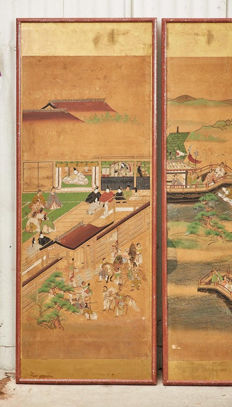 18th Century and Earlier Set of Six Japanese Edo Panels Tale of Taishokkan For Sale