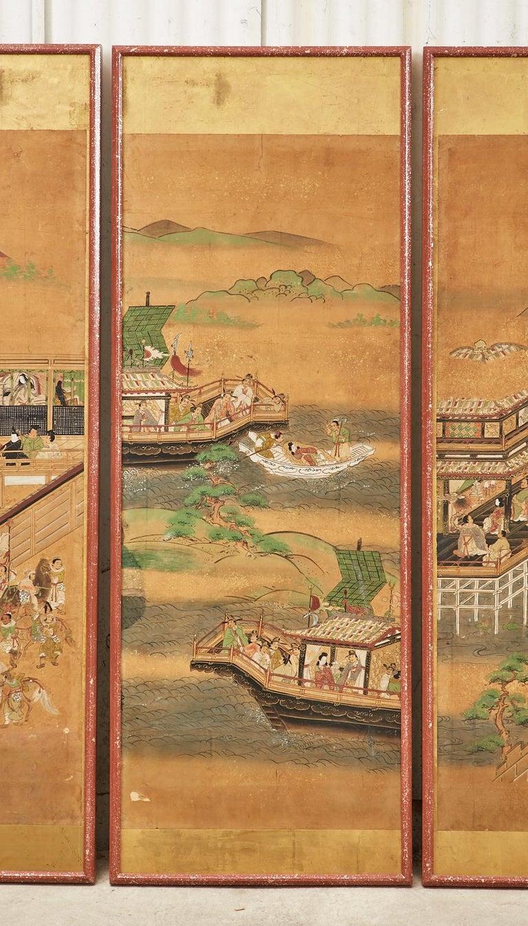 Wood Set of Six Japanese Edo Panels Tale of Taishokkan For Sale