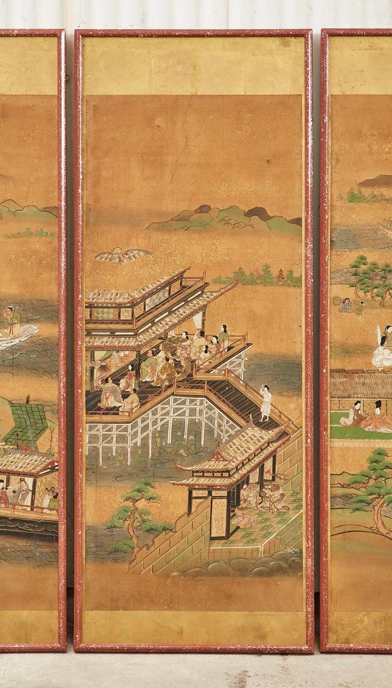 Set of Six Japanese Edo Panels Tale of Taishokkan For Sale 1
