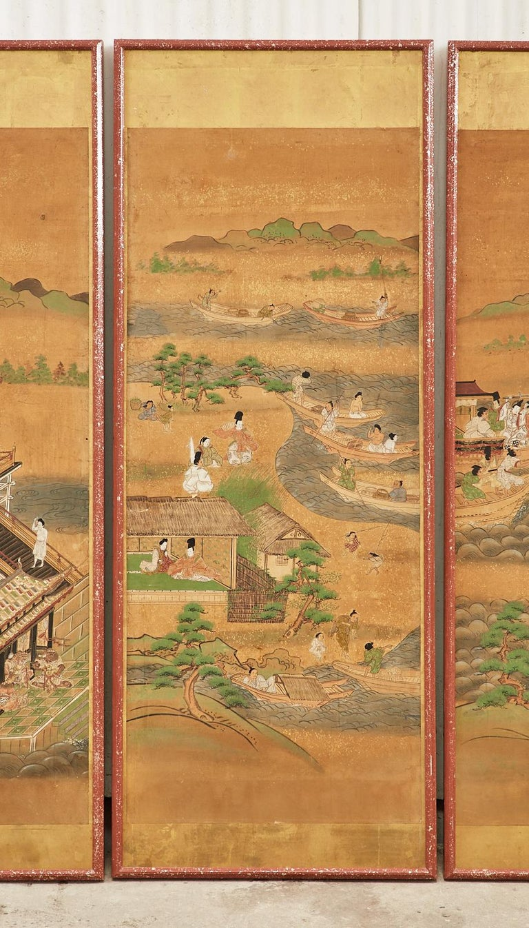 Set of Six Japanese Edo Panels Tale of Taishokkan For Sale 2