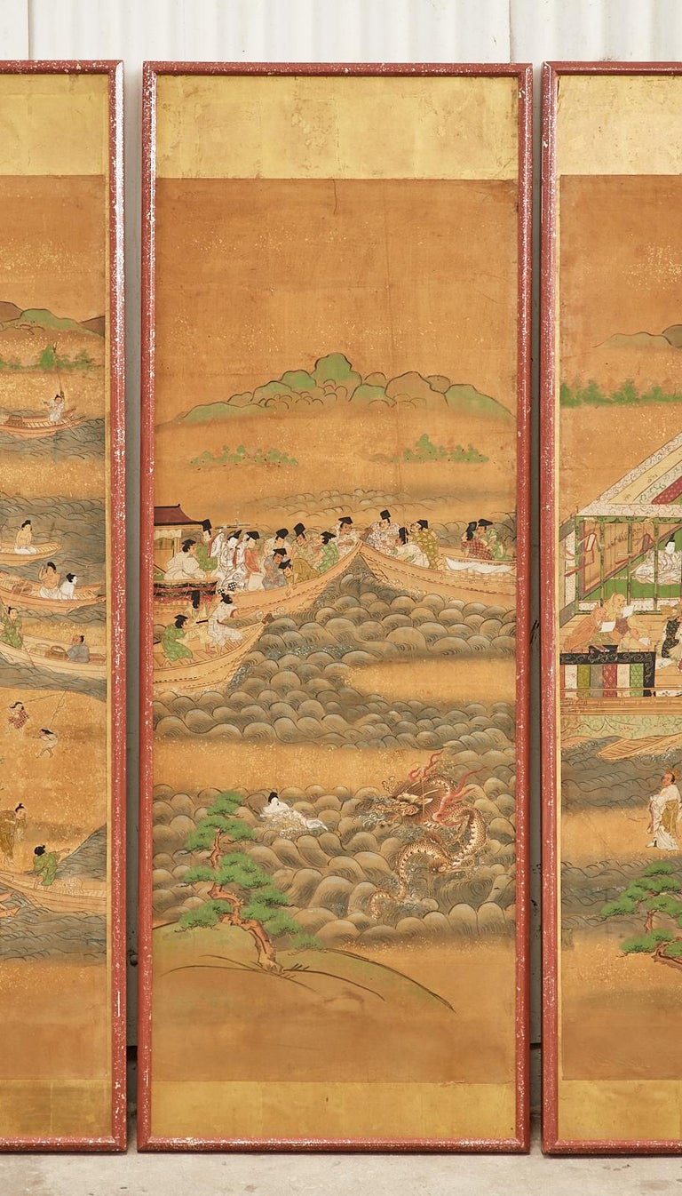 Set of Six Japanese Edo Panels Tale of Taishokkan For Sale 3