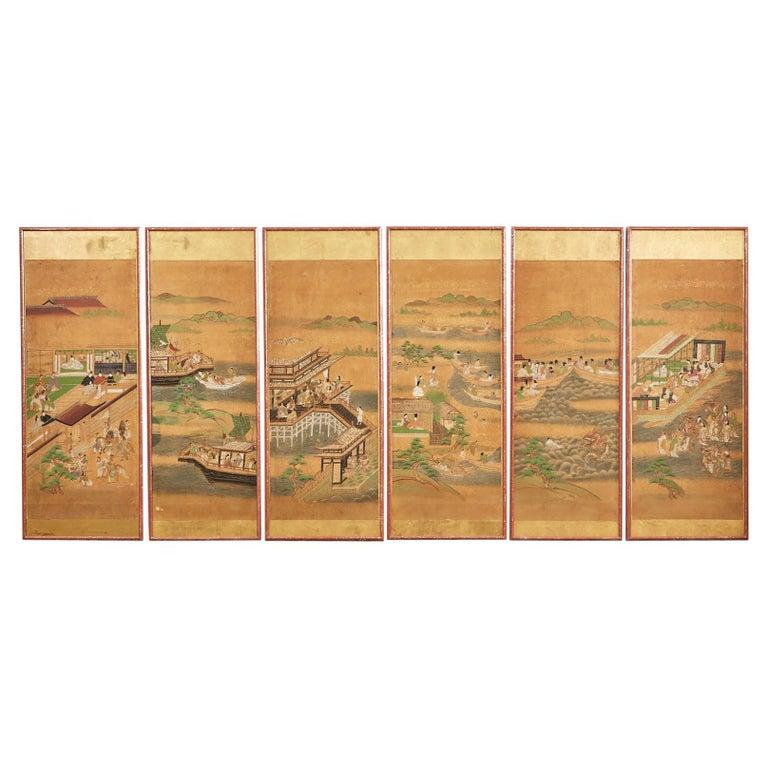 Set of Six Japanese Edo Panels Tale of Taishokkan For Sale