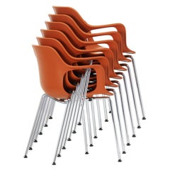 Set of Six Jasper Morrison HAL Armchairs Tube Stackable Chair by Vitra