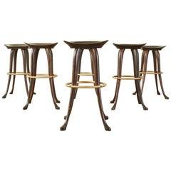 Set of Six Jean of Topanga California Carved Barstools