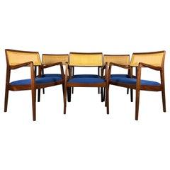 "Set of Six Jens Risom ""Playboy"" Walnut & Cane Dining Armchairs"