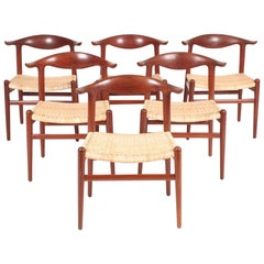 Set of Six JH-505 Cow Horn Chairs in Teak by Hans J. Wegner, Danish Midcentury