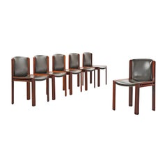 Set of Six Joe Colombo '300' Dining Chairs in Navy Green Leather